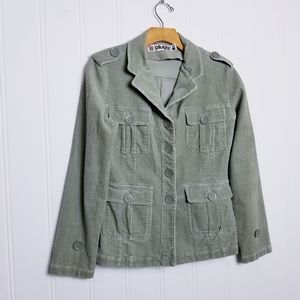 Plugg Green Button Front Corduroy JacketMed.